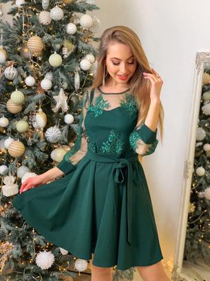 Стильное нарядное женское платье с кружевом