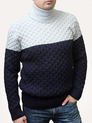 Классный двухцветный мужской свитер