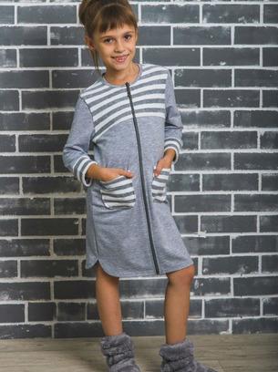 Красивый халат для девочки с полосочками