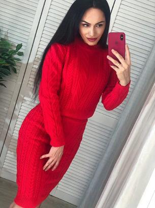 Стильный женский вязаный костюм юбка+кофта