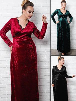 Шикарное женское вечернее платье на запах больших размеров