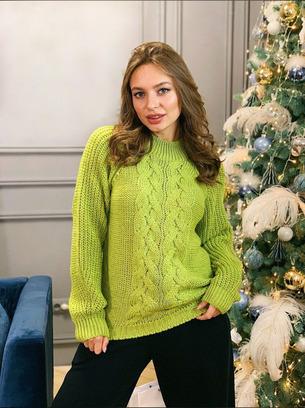 Стильный теплый женский свитер с люрексом