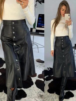 Стильная длинная женская юбка из эко-кожи на пуговицах