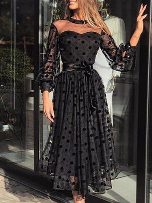 Шикарное женское платье миди в горох