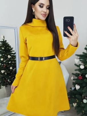 Шикарное яркое замшевое женское платье
