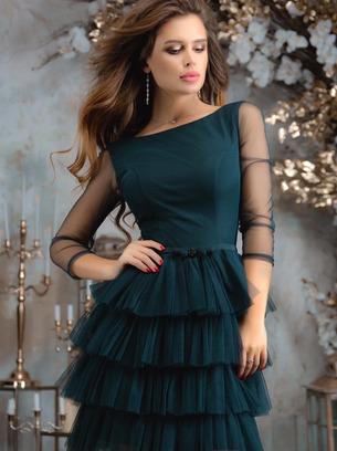 Коктейльное женское платье с юбкой из сетки