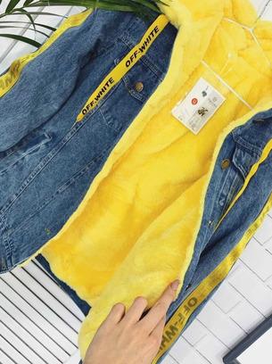 Крутая женская джинсовая курточка на меху