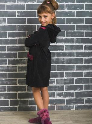 Красивый халат для девочек из велюра