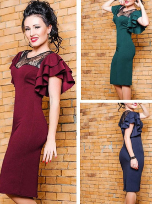 Нарядное женское платье с объемными рукавами больших размеров