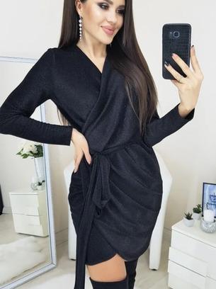 Нарядное женское платье из люрекса на запах