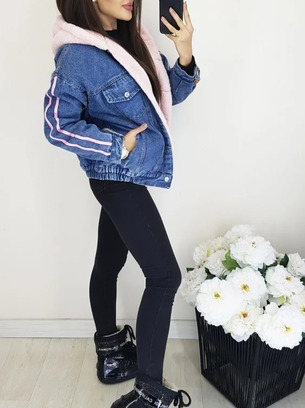 Стильная женская джинсовая куртка на меху