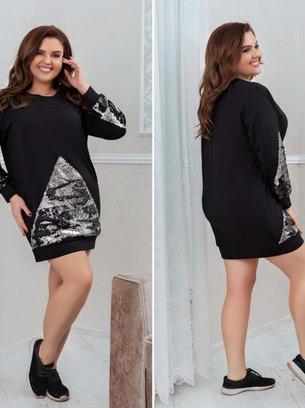 Красивое женское платье с пайетками больших размеров