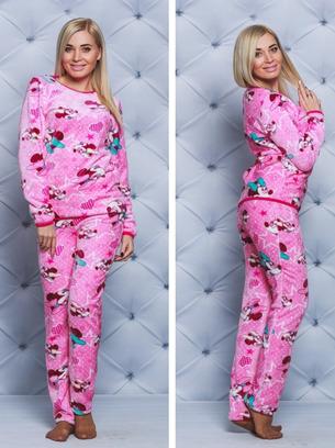 теплая пижама, махровая пижама, розовая пижама махровая