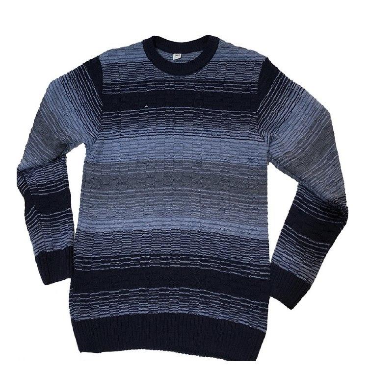 Стильный теплый мужской свитер в полоску с круглым ...
