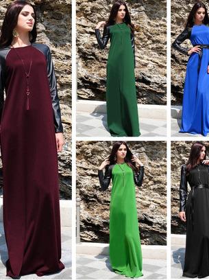 длинное платье, платье с кожаными рукавами