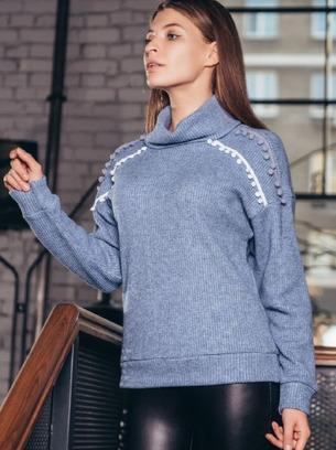 Модный теплый вязаный женский свитер