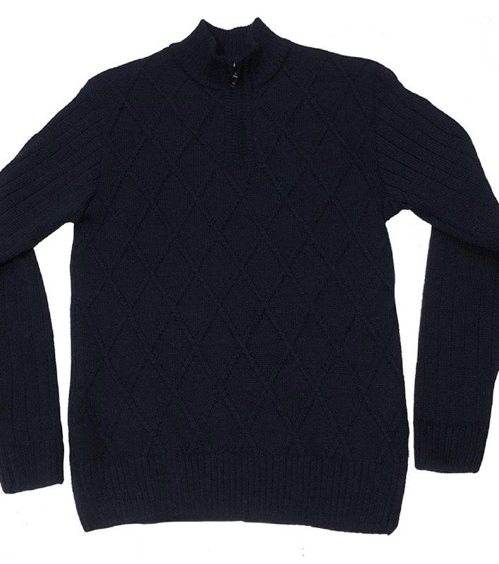 Теплый мужской свитер под горло на змейке