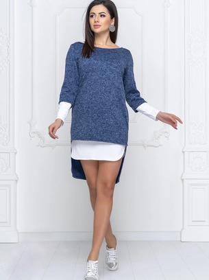 стильные платья туники, модные платья, комплект платье +туника