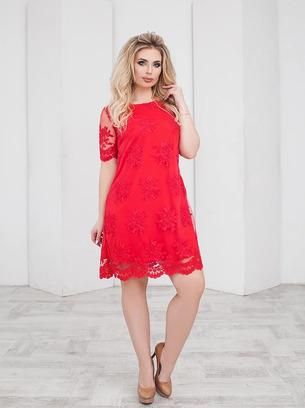 Модное женское платье с вышивкой на сетке больших размеров