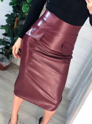 Обалденная женская юбка из эко-кожи