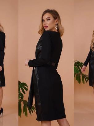 Нереально стильное женское платье на запах из эко-кожи