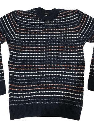 Зимний мужской свитер в полоску больших размеров