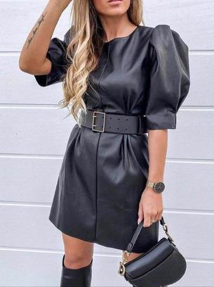 Обалденное женское кожаное платье без пояса