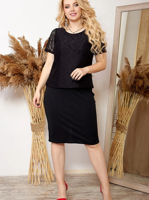 Красивый женский костюм-двойка юбка+гипюровая кофта больших размеров