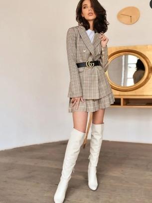 Стильный женский костюм-двойка пиджак+юбка