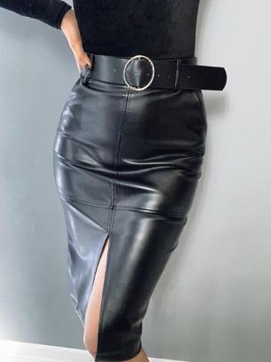 Модная женская юбка из эко-кожи