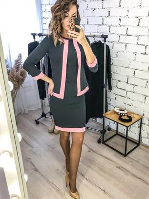Элегантный женский костюм платье+пиджак