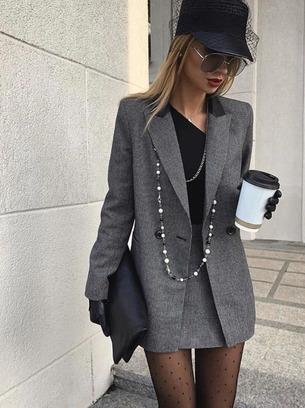 Модный теплый женский костюм-двойка юбка+пиджак