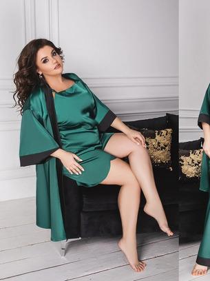 Шикарная женская пижама из четырех единиц больших размеров