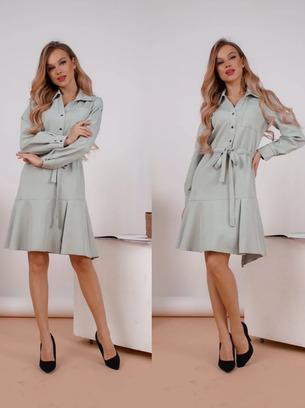Модное женское платье-рубашка на пуговицах с пояском больших размеров