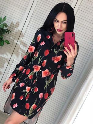 Стильное женское платье-рубашка с тюльпанами