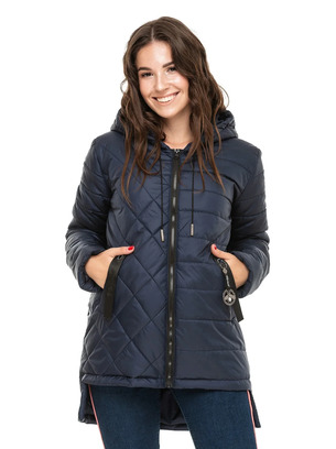 Женская удлиненная куртка с асимметричным низом больших размеров
