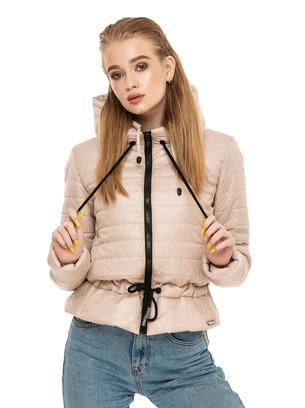 Демисезонная женская короткая куртка с воротником-стойкой больших размеров