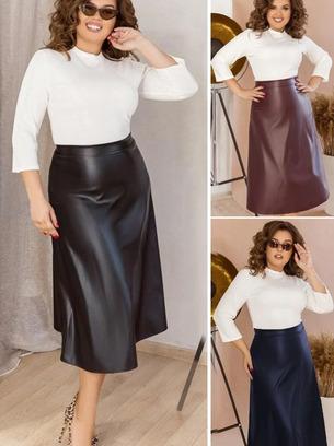 Стильная женская юбка миди из эко-кожи больших размеров