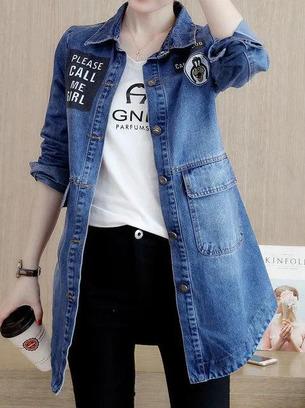 Женская красивая удлиненная джинсовая куртка