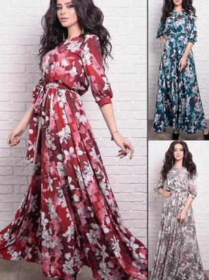 Летнее романтичное женское длинное платье больших размеров
