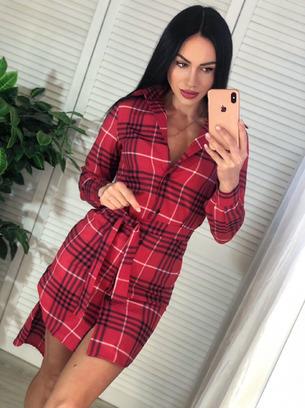 Стильное молодежное женское платье-рубашка
