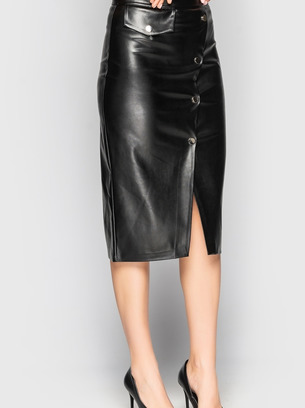 Женская кожаная юбка-карандаш высокой посадки