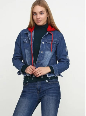 Стильная джинсовая куртка со съёмным капюшоном