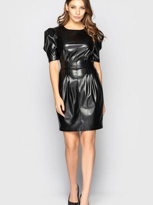 Изящное кожаное женское платье-мини с объемными рукавами