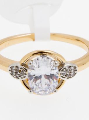 Шикарное женское кольцо с кристаллом белого цвета
