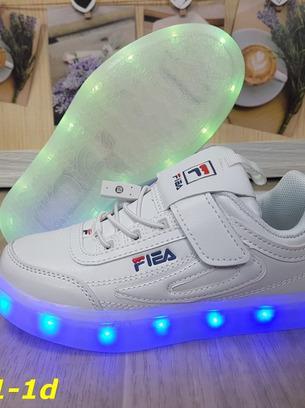 Детские белые кроссовки светящиеся с подсветкой