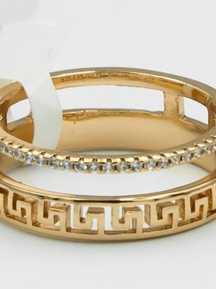 Красивое кольцо позолота с орнаментом