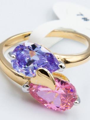Очень оригинальное кольцо капли синей и розовой краски