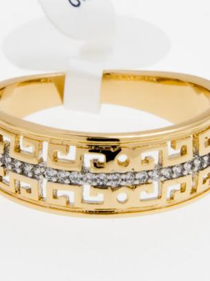 Красивое широкое женское кольцо под золото с орнаментом