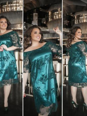 Нарядное женское платье с сеткой больших размеров
